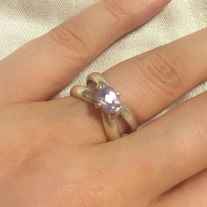 Pandora amethyst 14k gold and sterling silver ring